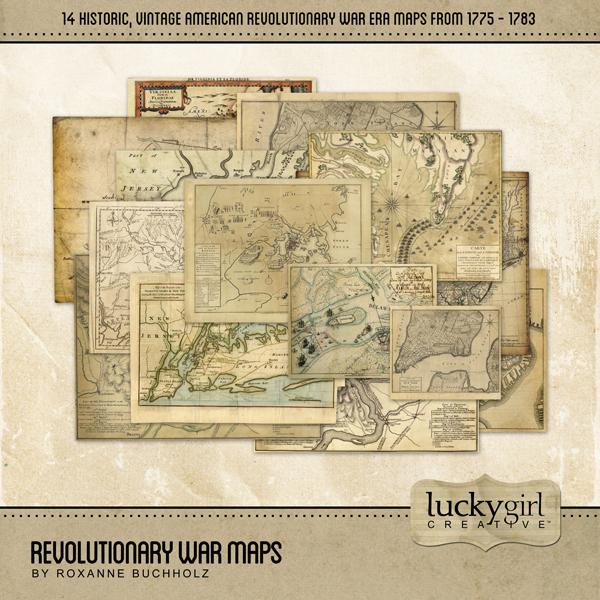 Revolutionary War Maps Digital Art - Digital Scrapbooking Kits