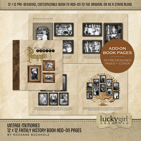 Vintage Memories 12 X 12 Family History Book Add-on Pages Digital Art - Digital Scrapbooking Kits