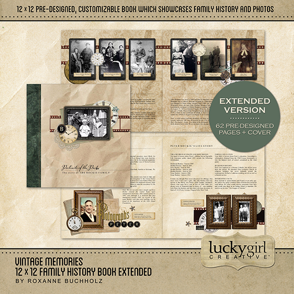Vintage Memories 12 X 12 Family History Book Extended Digital Art - Digital Scrapbooking Kits