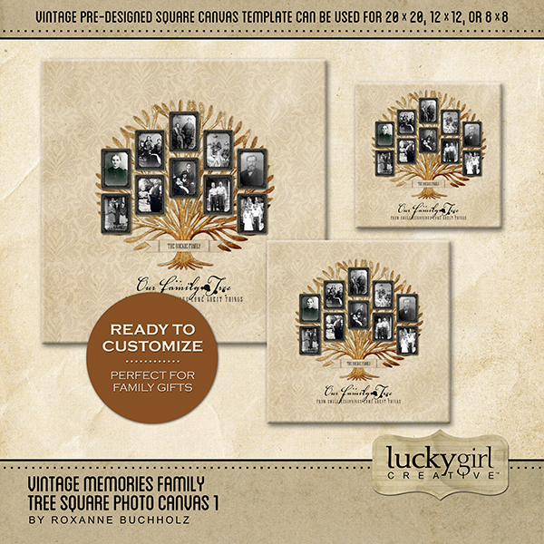 Vintage Memories Family Tree Square Canvas 1 Digital Art - Digital Scrapbooking Kits