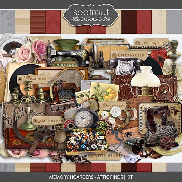 Memory Hoarders - Attic Finds Kit Digital Art - Digital Scrapbooking Kits