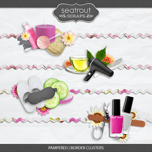 Pampered - Border Clusters Digital Art - Digital Scrapbooking Kits