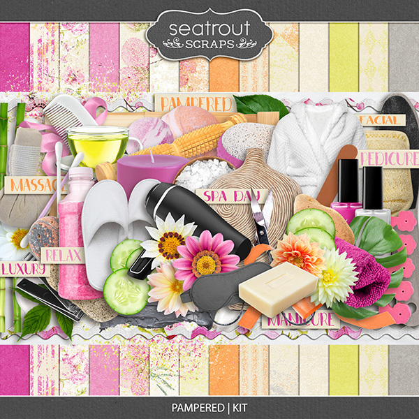 Pampered - Kit Digital Art - Digital Scrapbooking Kits