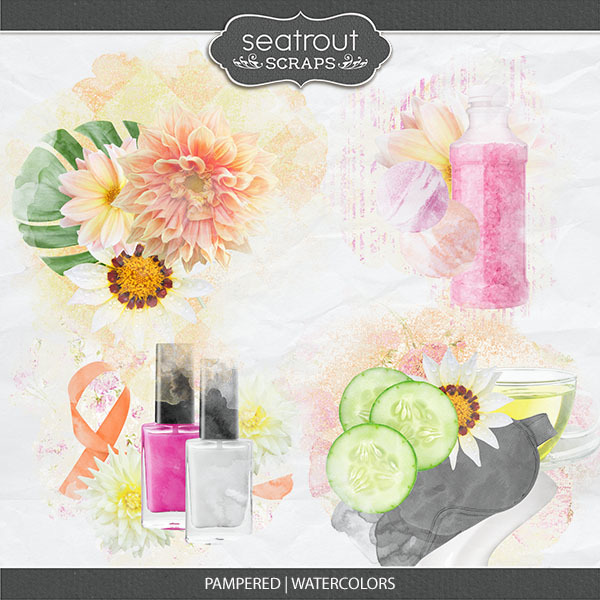 Pampered - Watercolors Digital Art - Digital Scrapbooking Kits
