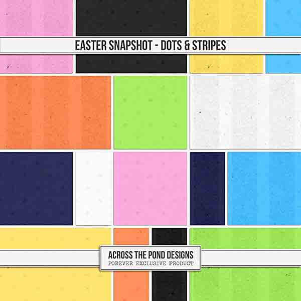 Easter Snapshot - Dots & Stripes Paper Pack Digital Art - Digital Scrapbooking Kits