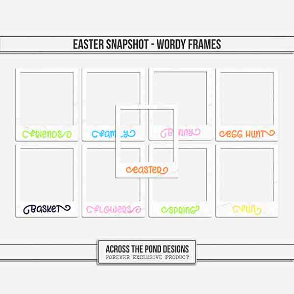Easter Snapshot - Wordy Frames Digital Art - Digital Scrapbooking Kits