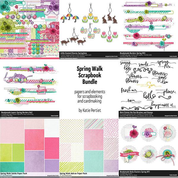 Spring Walk Scrapbooking Bundle Digital Art - Digital Scrapbooking Kits