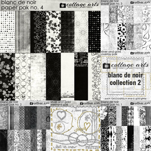 Blanc De Noir Collection 2 Digital Art - Digital Scrapbooking Kits