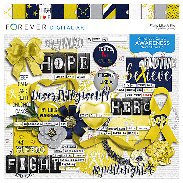 Fight Like A Kid Digital Art - Digital Scrapbooking Kits
