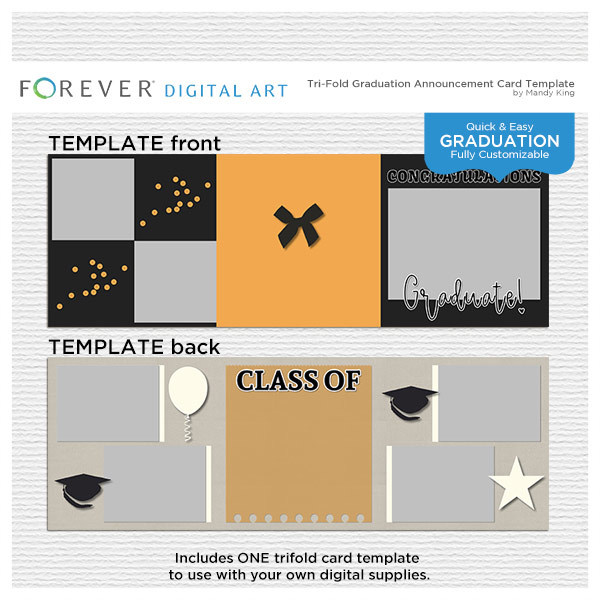 Tri-fold Graduation Announcement Card Template Digital Art - Digital Scrapbooking Kits