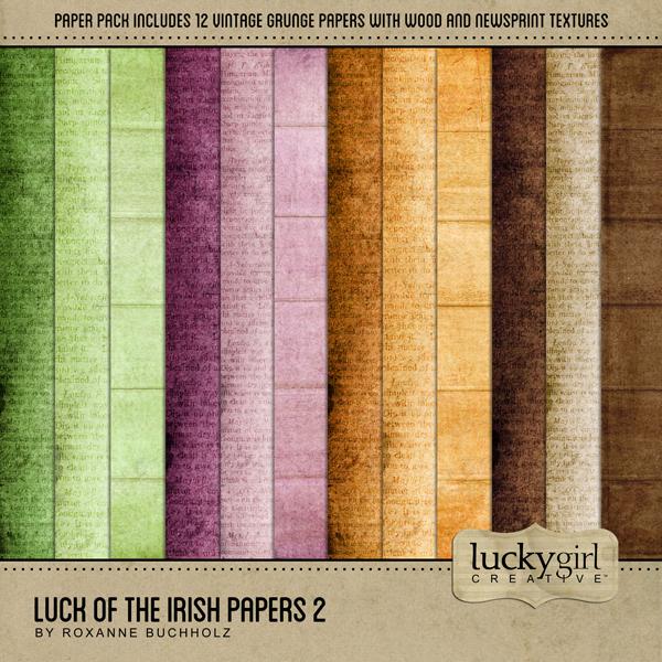 Luck Of The Irish Papers 2 Digital Art - Digital Scrapbooking Kits