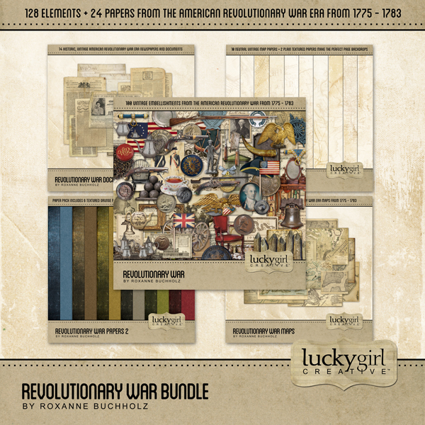 Revolutionary War Bundle Digital Art - Digital Scrapbooking Kits