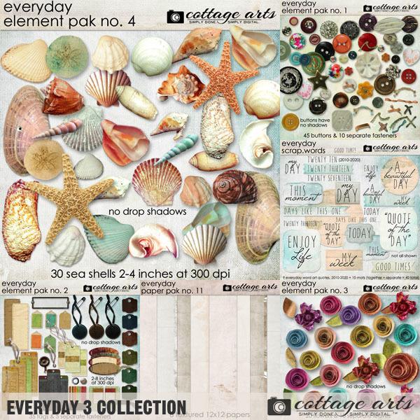 Everyday 3 Collection Digital Art - Digital Scrapbooking Kits