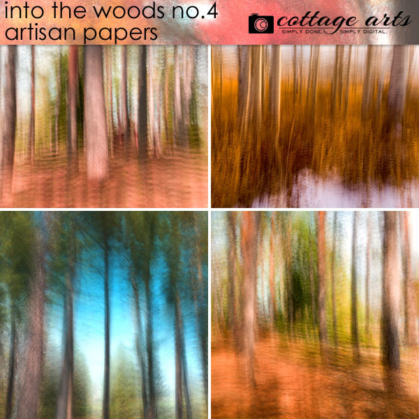 Into The Woods 4 Artisan Papers Digital Art - Digital Scrapbooking Kits