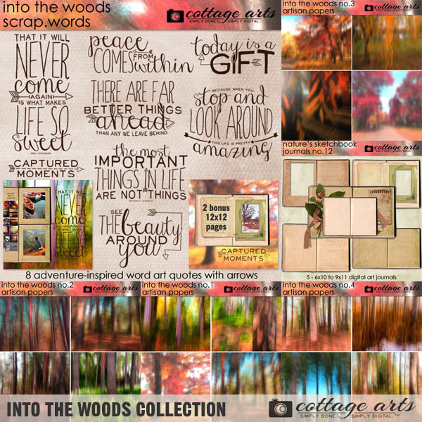 Into The Woods Collection Digital Art - Digital Scrapbooking Kits