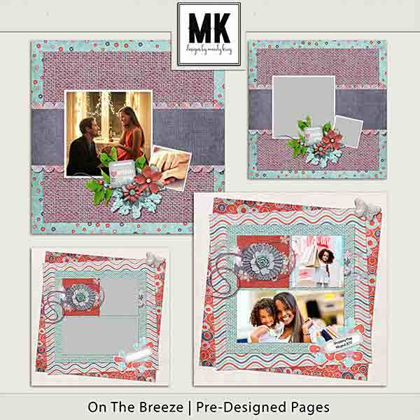 On The Breeze - Pre-designed Pages Digital Art - Digital Scrapbooking Kits