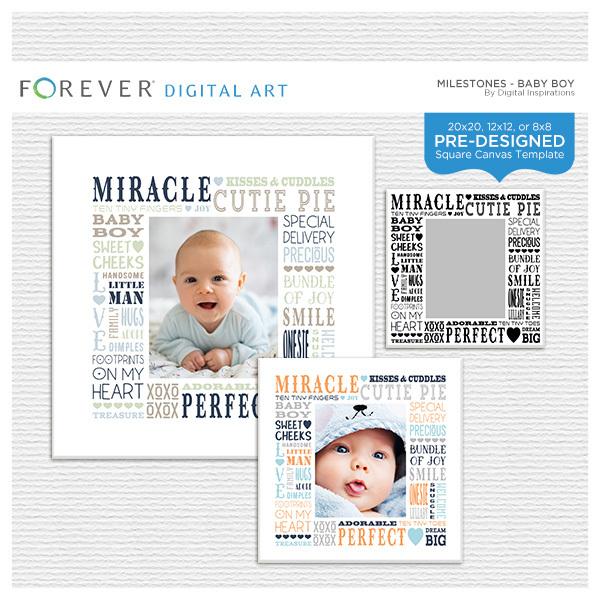 Milestones - Baby Boy Subway Art Canvas Digital Art - Digital Scrapbooking Kits
