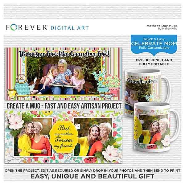 Mother's Day Mugs Digital Art - Digital Scrapbooking Kits