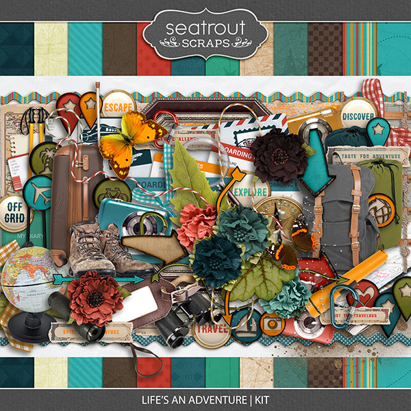 Lifes An Adventure Kit Digital Art - Digital Scrapbooking Kits