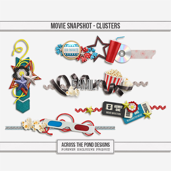 Movies Snapshot - Clusters Digital Art - Digital Scrapbooking Kits