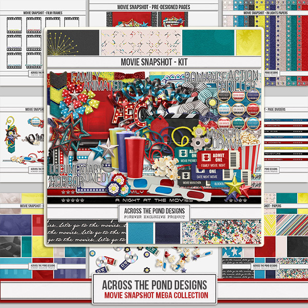 Movies Snapshot - Mega Bundle Digital Art - Digital Scrapbooking Kits