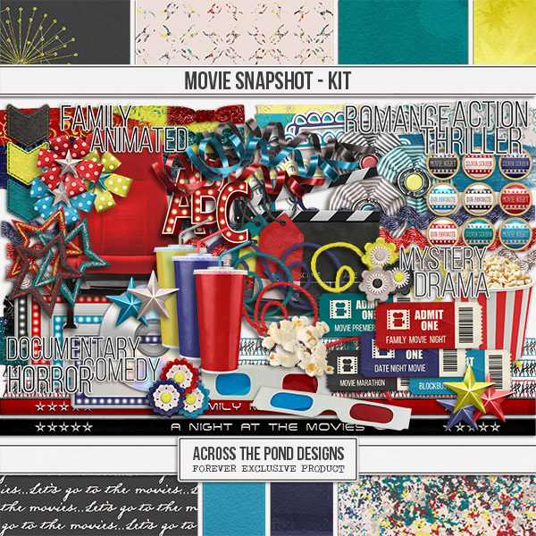 Movies Snapshot - Page Kit Digital Art - Digital Scrapbooking Kits
