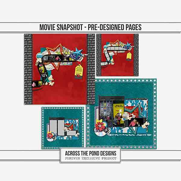 Movies Snapshot - Pre-designed Pages Digital Art - Digital Scrapbooking Kits