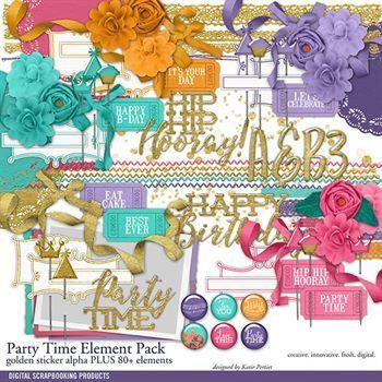 Party Time Element Pack Digital Art - Digital Scrapbooking Kits
