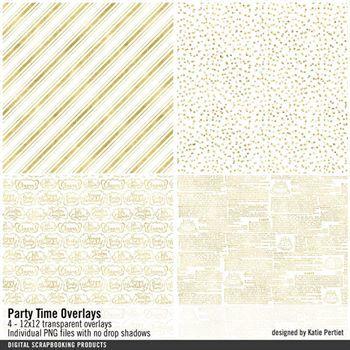 Party Time Overlays Digital Art - Digital Scrapbooking Kits