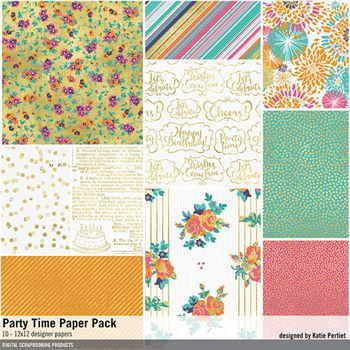 Party Time Paper Pack Digital Art - Digital Scrapbooking Kits