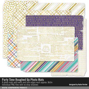 Party Time Roughed Up Photo Mats Digital Art - Digital Scrapbooking Kits