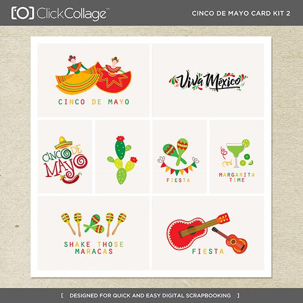 Cinco De Mayo Card Kit 2 Digital Art - Digital Scrapbooking Kits