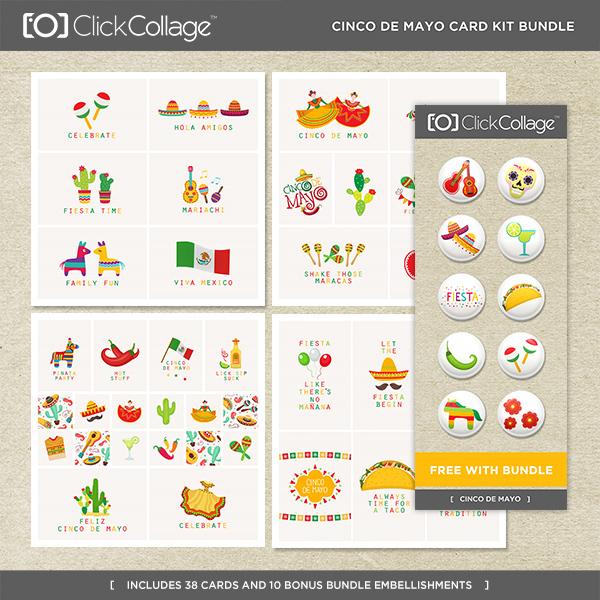 Cinco De Mayo Card Kit Bundle Digital Art - Digital Scrapbooking Kits