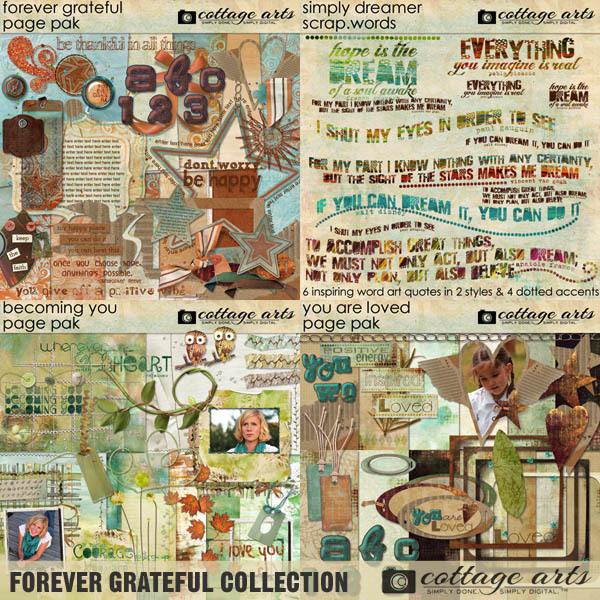 Forever Grateful Collection Digital Art - Digital Scrapbooking Kits