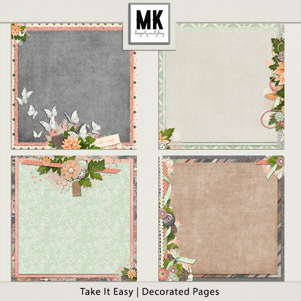 Take It Easy - Decorated Papers Digital Art - Digital Scrapbooking Kits