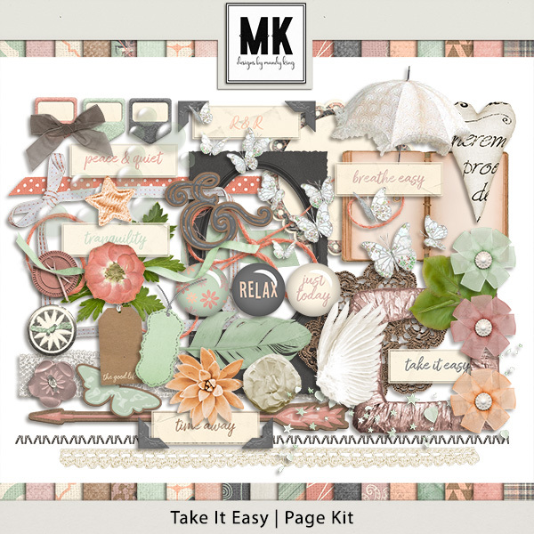 Take It Easy - Page Kit Digital Art - Digital Scrapbooking Kits