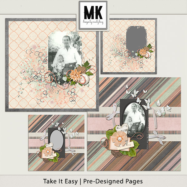 Take It Easy - Pre-designed Pages Digital Art - Digital Scrapbooking Kits