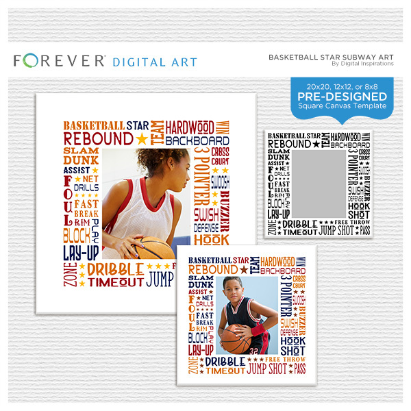 Basketball Star Subway Art Canvas Digital Art - Digital Scrapbooking Kits