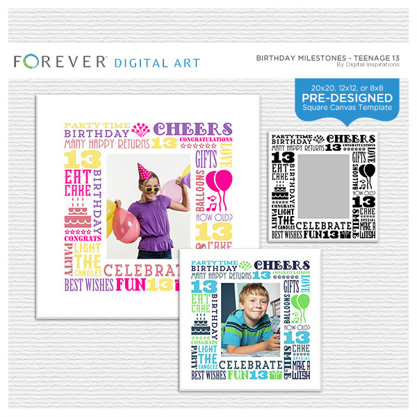 Birthday Milestones - Teenage 13 Digital Art - Digital Scrapbooking Kits