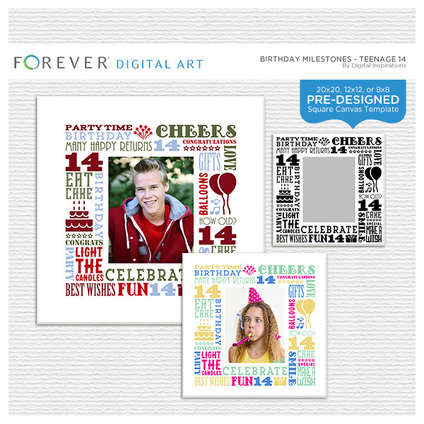 Birthday Milestones - Teenage 14 Digital Art - Digital Scrapbooking Kits