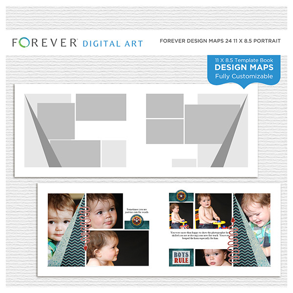 Forever Design Maps 24 11x8.5 Digital Art - Digital Scrapbooking Kits
