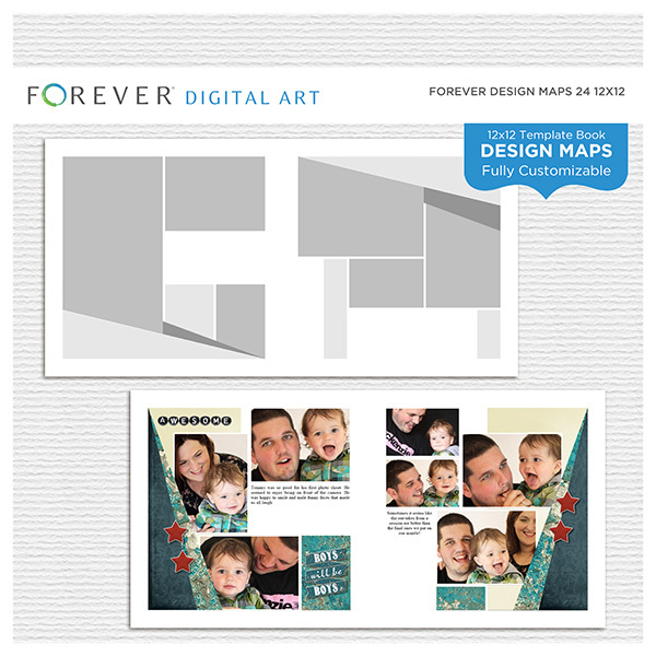 Forever Design Maps 24 12x12 Digital Art - Digital Scrapbooking Kits