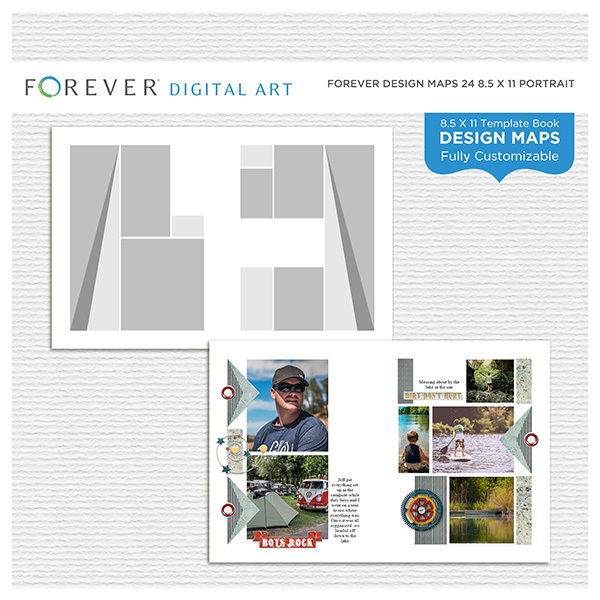 Forever Design Maps 24 8.5x11 Portrait Digital Art - Digital Scrapbooking Kits