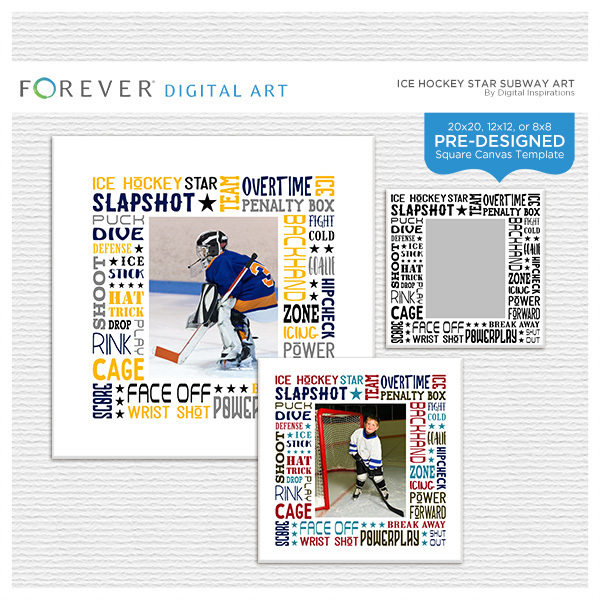 Ice Hockey Star Subway Art Canvas Digital Art - Digital Scrapbooking Kits