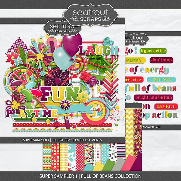 Super Sampler 1 - Full Of Beans Collection Digital Art - Digital Scrapbooking Kits