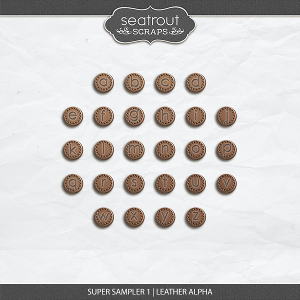 Super Sampler 1 - Leather Alpha Digital Art - Digital Scrapbooking Kits