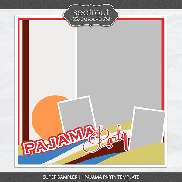 Super Sampler 1 - Pajama Party Template Digital Art - Digital Scrapbooking Kits