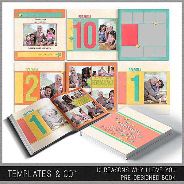 10 Reasons Why I Love You - Pre-designed Book Digital Art - Digital Scrapbooking Kits