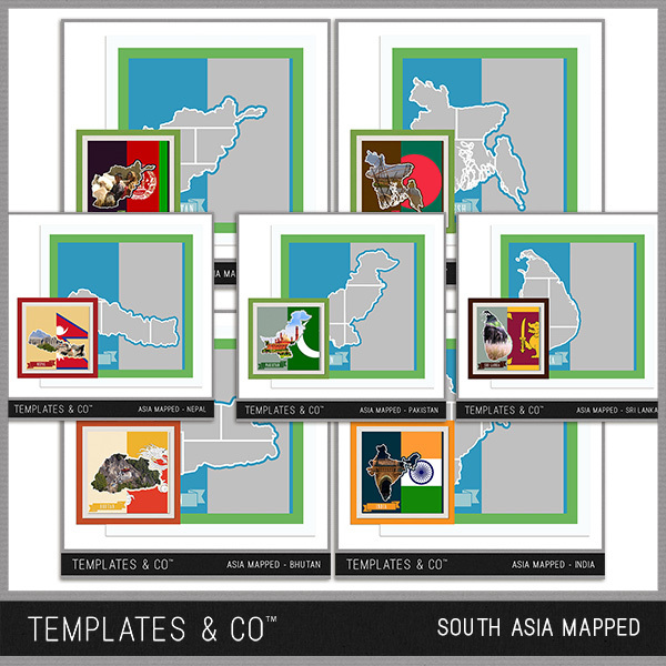 South Asia Mapped Digital Art - Digital Scrapbooking Kits