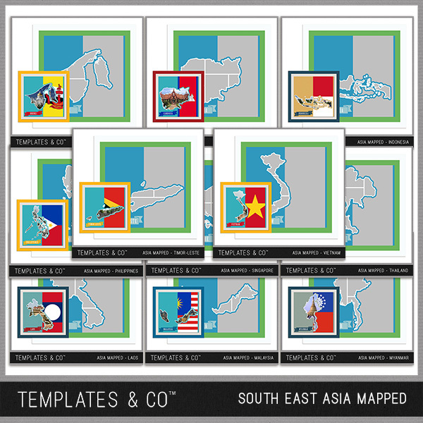 South East Asia Mapped Digital Art - Digital Scrapbooking Kits